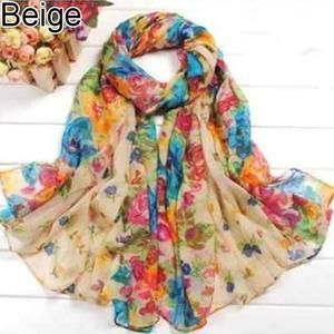 Women/'s Floral Print Chiffon Large Scarf Stole Wrap Sarong Head Scarves