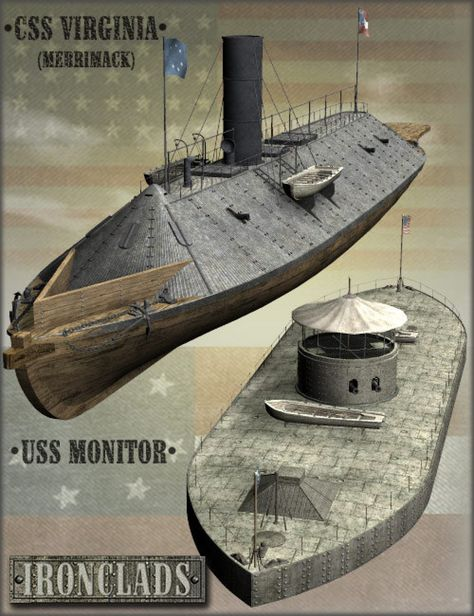 Two famous civil war ironclads: USS Monitor and CSS Virginia (Merrimack), with their equipment. Naval History, Military History, Uss Monitor, Brown Water Navy, Civil War Art, Us Navy Ships, Civil War Photos, Military Diorama, American Civil War