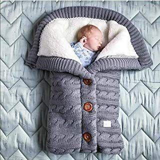 Newborn Baby Sack Stroller Wrap Thick Knit Baby Swaddle Blanket Sleeping Bag UK