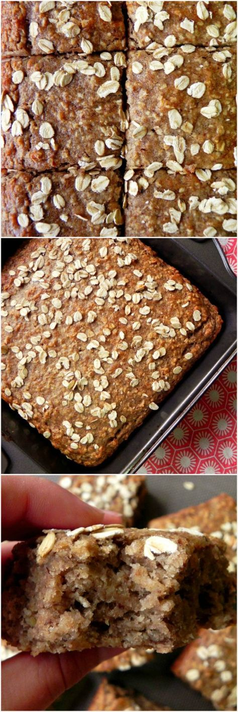 Not sure that it needs the flax with all those bananas, but sounds great - Banana & Oat Breakfast Cake with FIVE bananas! #HEALTHY #VEGAN Oatmeal Banana Bread - Ceara's Kitchen