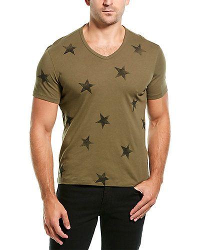 PRPS Men/'s White//Black Multi Stripe Patchwork S//S Perforated T-Shirt Medium