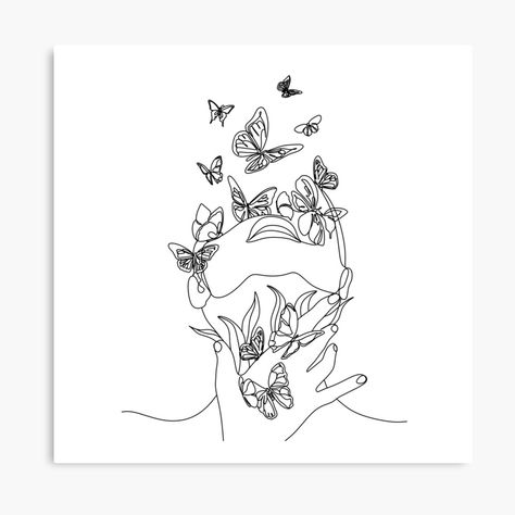 Abstract face with butterfly by one line drawing. Nature symbol of cosmetics. Modern continuous line art. Beaty salon art by OneLinePrint Abstract Line Art, Abstract Faces, Tattoo Abstract, Abstract Drawings, Pencil Art Drawings, Art Drawings Sketches, Line Drawing Art, Botanical Line Drawing, Tattoo Design Drawings