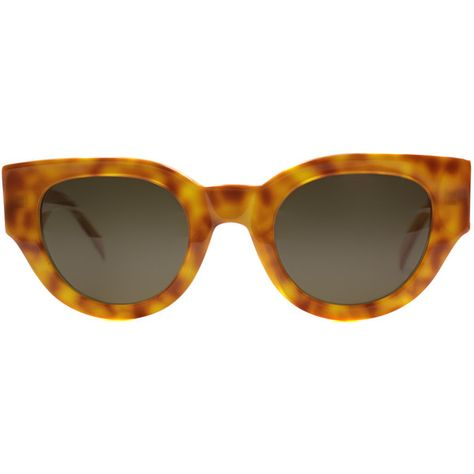 a81a00f5c907 Celine CL 41064 6TX Havana Yellow Cat-Eye Plastic Sunglasses ( 215) ❤ liked