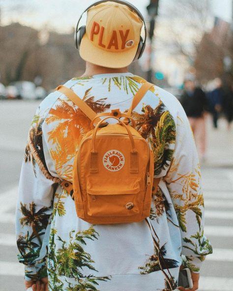 077d5da7c Fjallraven Mini Kanken Warm Yellow Random Blocked Backpack   Urban  Outfitters   Women's   Accessories   Bags & Purses via @shealynnaultphotos  #UOEurope ...