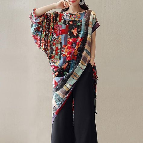 Fashion Women Floral Printed Irregular Bohemian Blouse Summer Short Batwing Sleeve Ethnicrricdress