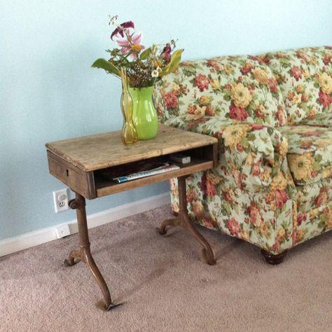 Old school desk turned end table.