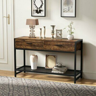 Rustic Brown Console Table With Lower Storage Shelf For Living Room And Entryway 131 99 End Date Saturd Rustic Console Tables Rustic Sofa Tables Rustic Sofa