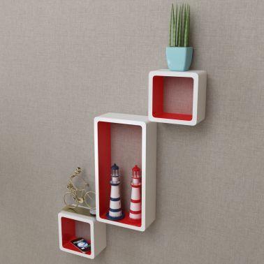 3 Etageres Cubes Murales Et En Mdf Blanc Rouge Pour Dvd Livres Cube Mural Parement Mural Etagere Cube