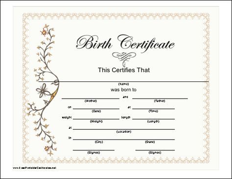 A Blank Birth Certificate Fascinating Birth Certificate Template  31 Free Word Pdf Psd Format Download .