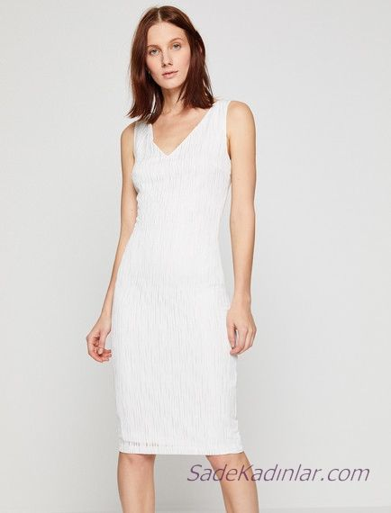 Koton Beyaz Elbise Modelleri Kisa Kolsuz V Yakali Simli Kumas Elbise Modelleri Elbise Moda Stilleri