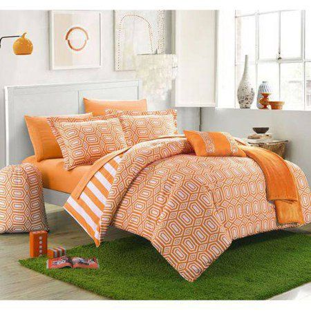 Chic Home 10 Piece Nantes Geometric And Striped Reversible Comforter Set Walmart Com In 2021 Comforter Sets Chic Home Design Full Comforter Sets
