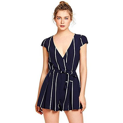 28a291fec8e Handyulong Women Rompers Casual V-Neck Short Sleeve Stripe Tie Knot Fornt  Beach Jumpsuit Shorts Playsuits for Teen Girls