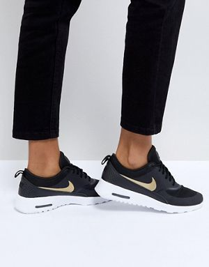 Nike Air Max Thea Trainers In Black And