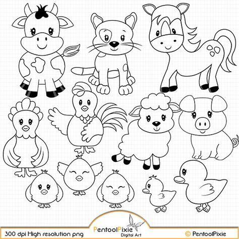 Tiere Kostenlose Malvorlage Verschiedene Tiere Auf Dem Bauernhof Zum Pictures Tiere Kostenlose Malvorl Farm Animal Coloring Pages Digital Stamps Farm Animals
