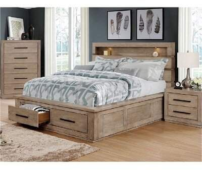 King Storage Bed Bookcase Headboard, King Storage Bed Frame With Headboard