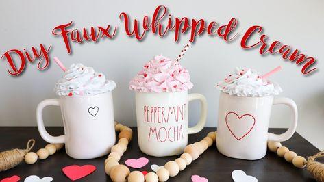 DIY Rae Dunn Mug Fake Whipped Cream Topper