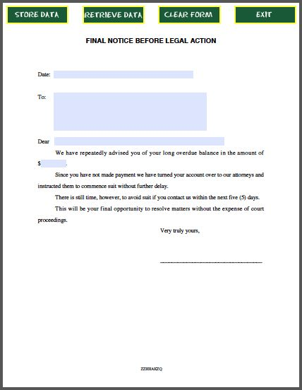 Final Notice Before Legal Action Template Pinterest Action - final notice template