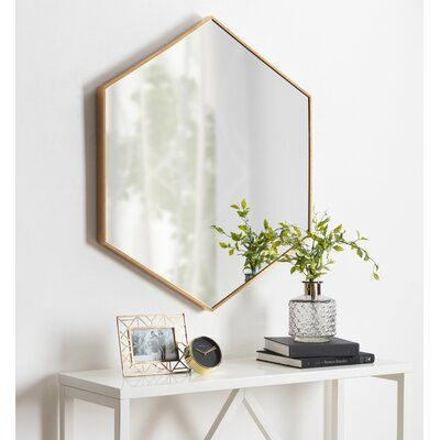 Brayden Studio Bothell 6 Sided Hexagon Modern Beveled Accent Mirror Finish Gold Accent Mirrors Home Decor Framed Mirror Wall
