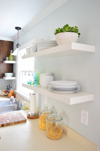 Hanging Ikea Floating Shelves In Our Kitchen In 2020 Ikea Floating Shelves Ikea Lack Shelves