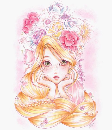 この前ラプンツェル描いたの! #disney #disneyprincess #rapunzel #tangled #drawing #illustration #fanart #flower #girl #ディズニー #イラスト #ラプンツェル #塔の上のラプンツェル #花