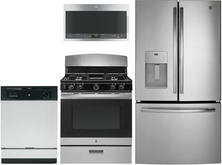 4 Piece Kitchen Appliances Package With Gfe26jsmss 36 French Door