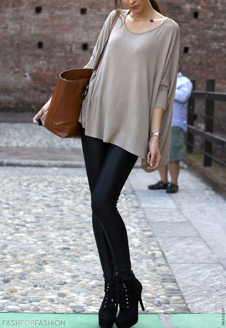 Oversized Taupe Trapeze Top + Black Leather Leggings + Black Ankle Boots