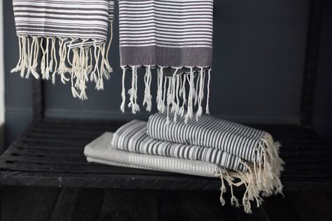 HD Buttercup striped guest towels in goop apartment. #HDButtercupxgoop