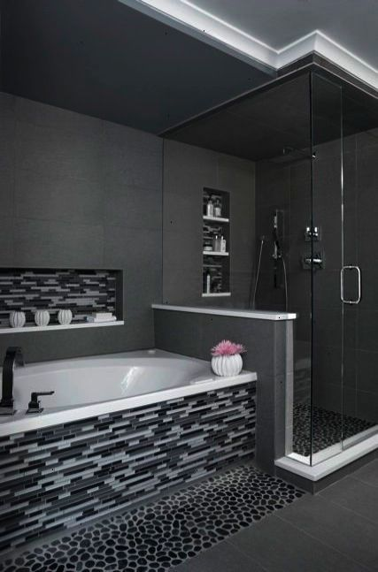 Modern Bathroom Design Like The Grey Color Scheme And Glass Tiles See More Bathroom D Bathroom Remodel Master Bathroom Remodel Shower Small Bathroom Remodel