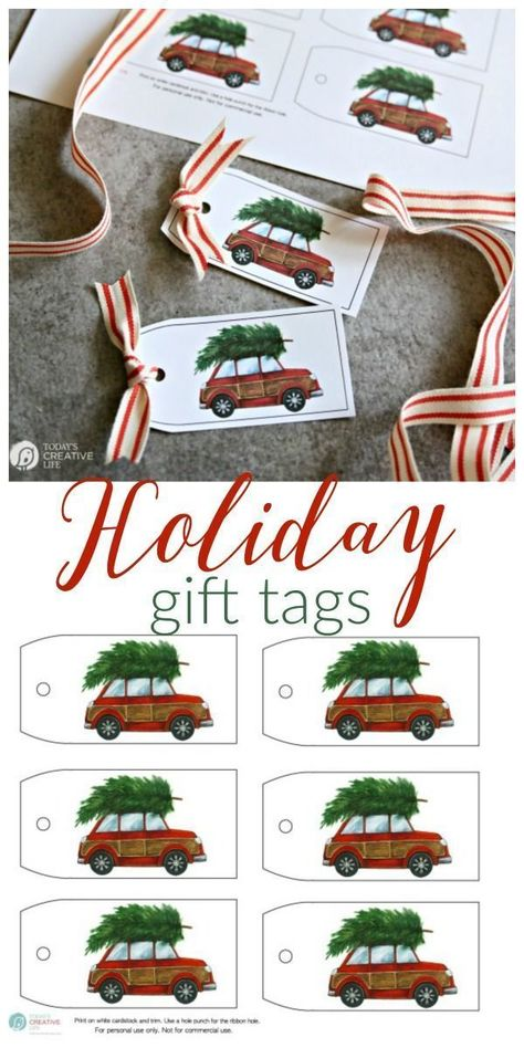 Free Printable Holiday Gift Tags This red car with the Christmas tree gift tag will make gift wrapping easy! Find it on Today's Creative Life Christmas Tree With Gifts, Holiday Gift Tags, Christmas Gift Wrapping, Winter Christmas, Christmas Decorations, Christmas Gift Tags Printable Free, Xmas, Christmas Stockings, Scandinavian Christmas