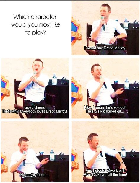 """Davon Murray (Seamus Finnigan) on acting Draco Malfoy. """"He gets to work with Alan Rickman all the time!"""" :)"""