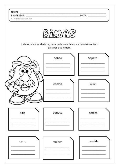 Alfabetizacao Rimas Frases E Descobertas Atividades Pedagogica