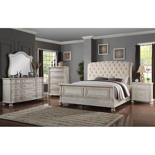 Sasha Lee Barton Creek 4 Piece King Bedroom Set In Off White Paint