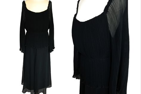 Slinky Sheer Black Maxi Dress with Abstract Flowers and Double Spaghetti Strap Shoulder Vintage