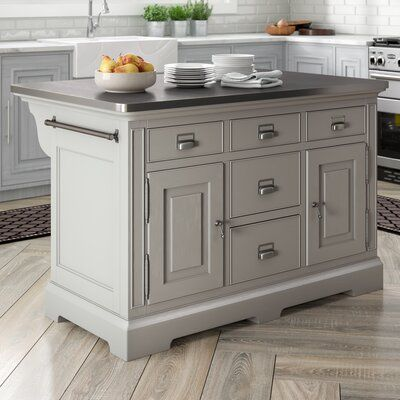 Canora Grey Bailes Kitchen Island Stainless Steel Counter Top Grey Kitchen Island Stainless Steel Counters Stainless Steel Kitchen Island