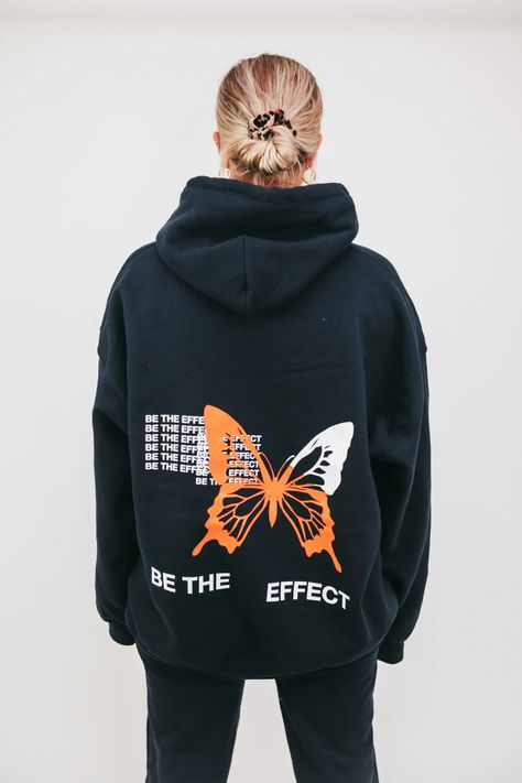 'Be The Effect' This is a Pre Order - Please allow up to 18 business days to process & ship Navy blue hoodie Cotton Hoodie Has 2 drawstrings Model is wearing XL ONLY available in XL for this drop Note this sweatshirt is meant to fit oversized Stylish Hoodies, Unique Hoodies, Cool Hoodies, Diy Hoodies, Mode Ootd, Navy Blue Hoodie, Moda Fashion, Looks Style, Apparel Design