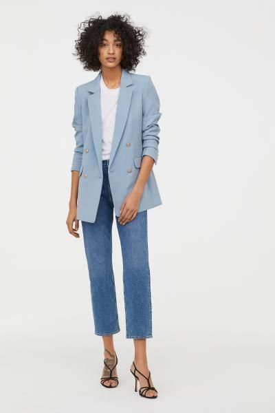 Double Breasted Jacket Blazer Outfits For Women Blue Jackets Outfits Blue Blazer Outfit