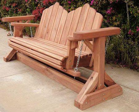 garden glider plans | Redwood Glider Swing Bench:                              …
