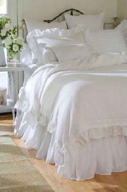 Twin Shabby Cottage Chic White Ruffled Bedskirt Dust Ruffle