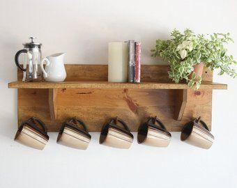 Rustic Coffee Cup Mug Rack Shelf Wood Wall Mounted Coffee Etsy In 2020 Mug Rack Coffee Mug Wall Rack Farmhouse Mugs