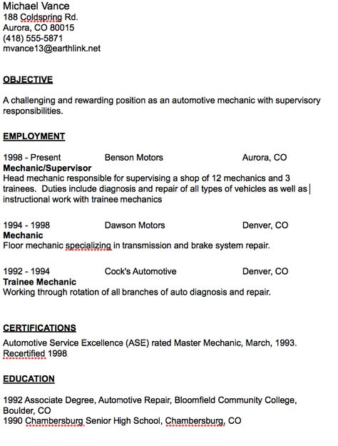 Example Of Master Electrician Resume - http\/\/resumesdesign - auto mechanic sample resume