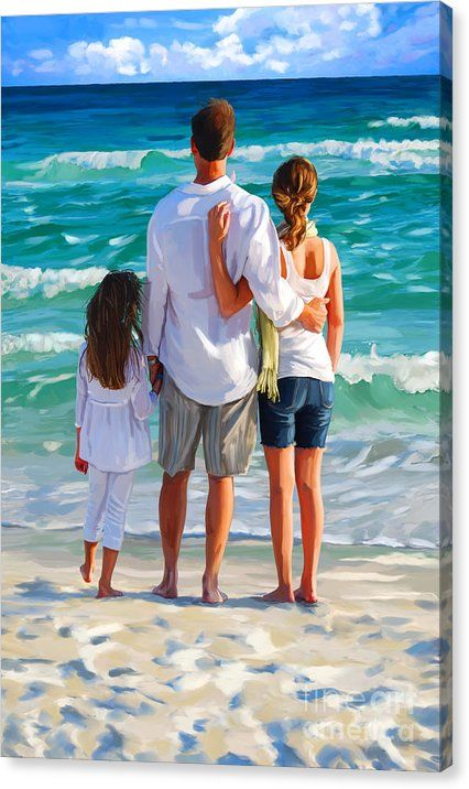 Dad And His Girls Canvas Print featuring the painting Dad And His Girls by Tim Gilliland