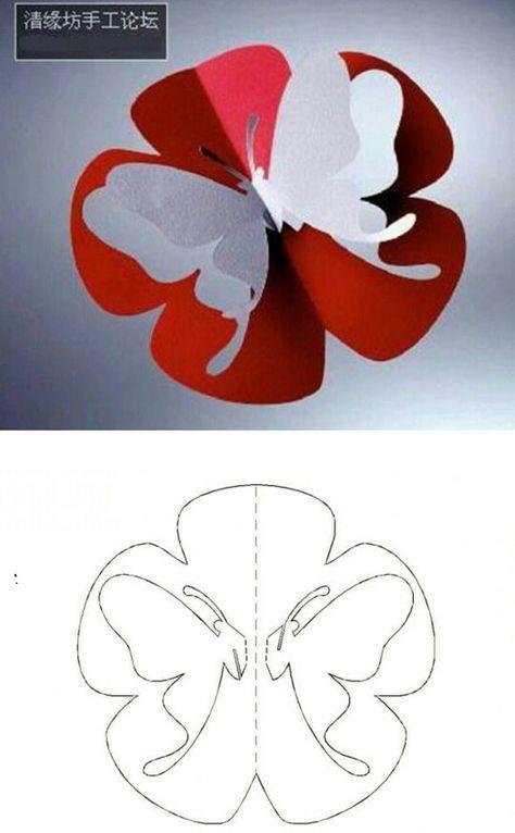 Схема открытка бабочка из бумаги