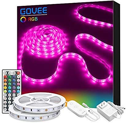 Amazon Com Led Strip Lights Govee 32 8ft Rgb Colored Rope Light Strip Kit With Remote And Control Box For Room Led Strip Lighting Strip Lighting Rope Light