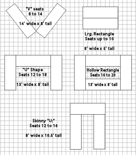 How To Arrage 8ft Reception Table In The Same Room As The Wedding | Room  Layout Suggestions With Rectangle (or Mixed) Tables | Lilly Wedding Table  ...