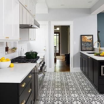 White Top Cabinets And Black Bottom Cabinets White Kitchen