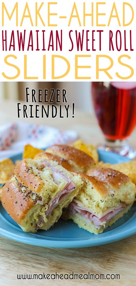 These make-ahead Hawaiian Sweet Roll Sliders are the perfect meal for game day, picnics, potlucks, or easy weeknight dinners! They are simple to make and only take 20 minutes to heat in the oven!! Definitely one of our family's favorite freezer meals!! #freezermeals #freezerfriendly #makeahead #sliders #potluck #easydinner #picnic #gameday