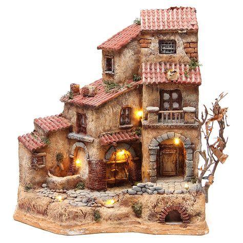Venta Casa Grande En Resina Para Belen Con Fuente 39x36x20 Cm Casa Grande Para Belen En Resina Medidas 39x36x2 Casas En Miniatura Belenes Casas Para Belenes