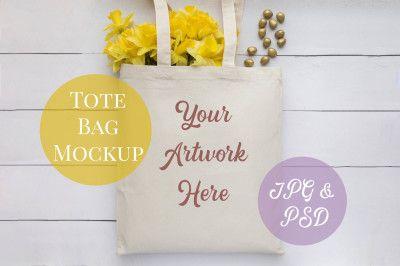 Download Tote Bag Mockup Yellow Daffodils Psd Mockup Template In 2020 Stationery Mockup Design Mockup Free Free Psd Mockups Templates