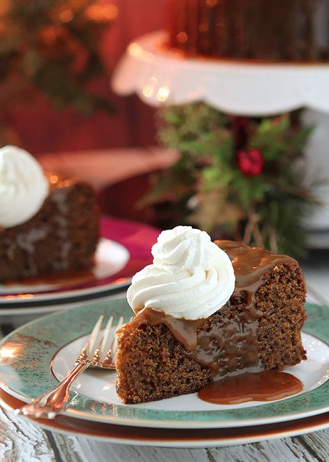 Sticky Toffee Pudding is an English dessert that combines dates and maple syrup in a dense, delicious cake topped with a maple/toffee sauce.