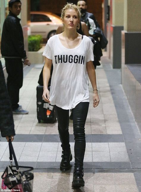 Ellie Goulding.. statement tee, leather leggings, and Dr. Martens Devon double buckle boots..